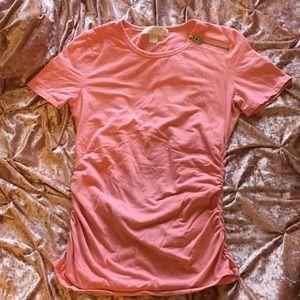 2/$40 Michael Kors Pink Logo Zipper Tee S